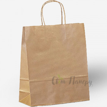 Пакет бумажный 320х150х420 мм коричневый с ручками (в полоску)