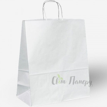 Пакет бумажный 320х150х420 мм белый с ручками